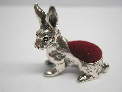 Pretty Novelty Edwardian Style Solid Sterling Silver Hare Rabbit Pin Cushion