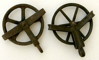 TWO Antique Collectible ROPE PULLEYS Cast Iron WHEEL WELL Usable / Decorative