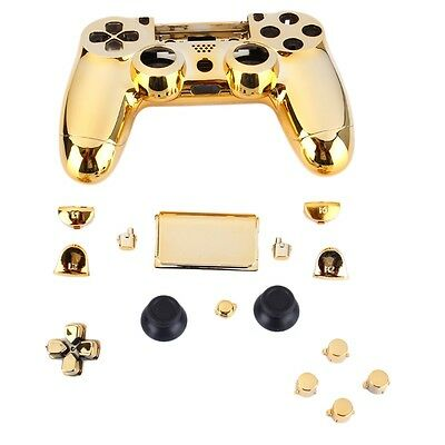 Gold Chrome Replacement Hydro Dipped Shell Mod Kit for PS4 Controller B^^