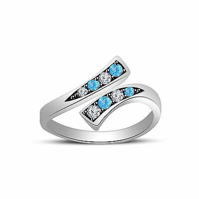 Aquamarine & D/VVS1 Diamond Bypass Fashion Adjustable Toe Ring .925 Sterling