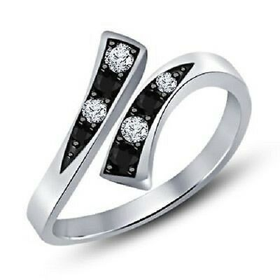 Black & D/VVS1 Diamond Bypass Fashion Adjustable Toe Ring .925 Sterling Silver