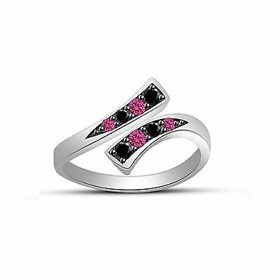 Pink Sapphire & Black Sim. Diamond Bypass Fashion Adjustable Toe Ring 925 Silver