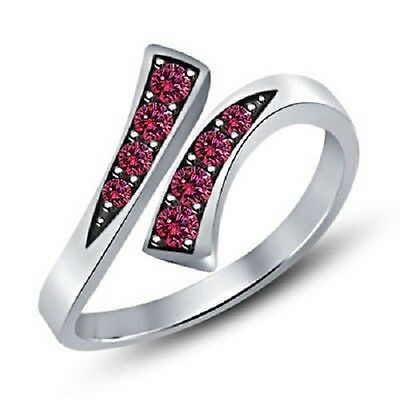 Pink Sapphire 925 Sterling Silver Bypass Adjustable Toe Ring Fashion Jewelry