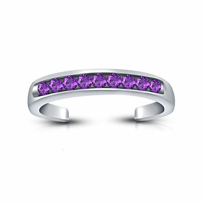 Purple Amethyst 14k White Gold Over 925 Sterling Silver Adjustable Band Toe Ring