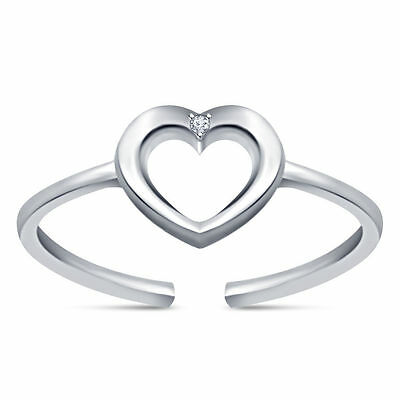 Heart Toe Ring Sterling Silver .925 D/VVS1 Diamond Adjustable New Jewelry Gift