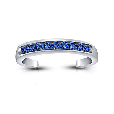 Blue Sapphire 14k White Gold Over .925 Sterling Silver Adjustable Band Toe Ring