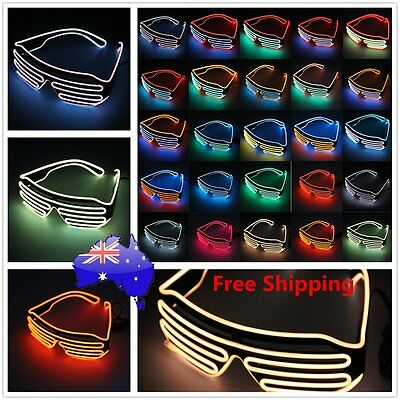 Glow LED Glasses Light Up Shades Flashing Rave Festival Party Glasses A^^