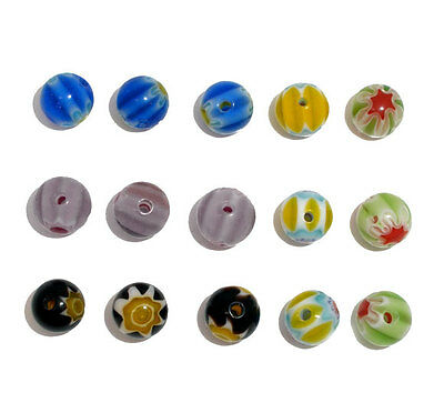 65 Mixed Millefiori Glass Lampwork Round Spacer Beads 6mm,