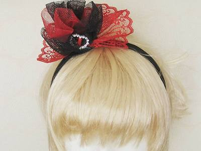 Spanish inspired Red and Black Lace fascinator on headband