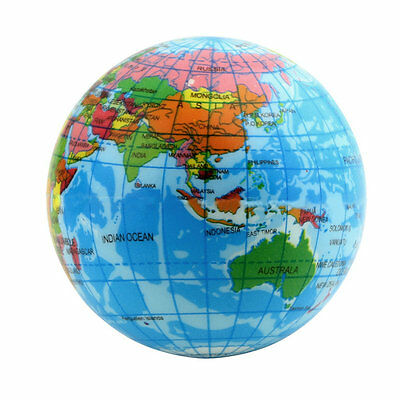 World Map Foam Earth Globe Stress Relief Bouncy Ball Atlas Geography Toy A^^