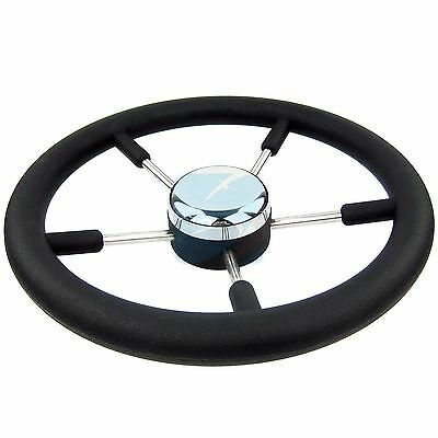"13-1/2"" Boat Marine Steering Wheel PU Foam Stainless Steel Cap 5 Spoke 15 Degree"