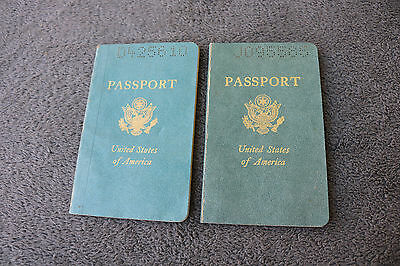 Vintage LOT 2 US Passport With Stamps And Photo Obsolete Expired History Travel