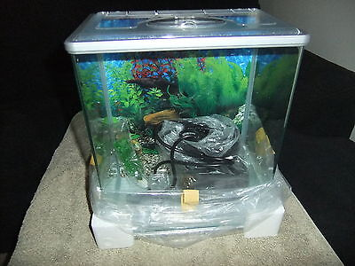 Small Fish Tank  Aquarium  With Hang on Filter, Plant and Backing Brand New