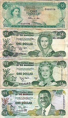Banamas Four Bank Notes $1 Dollar Currency, Paper Money