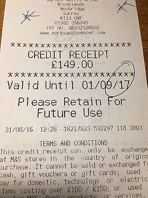 M&s credit receipt £149.00 for £129