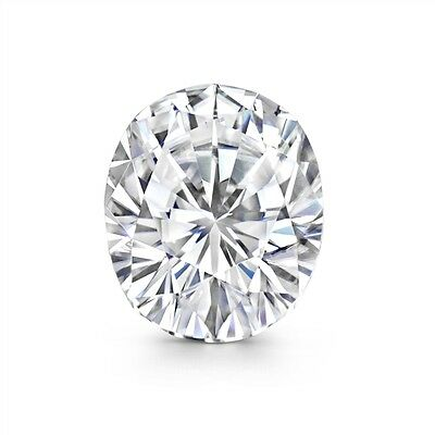 0.78 ct  Forever One Moissanite next to White Oval cut Stone 7.35 to 5.22mm good
