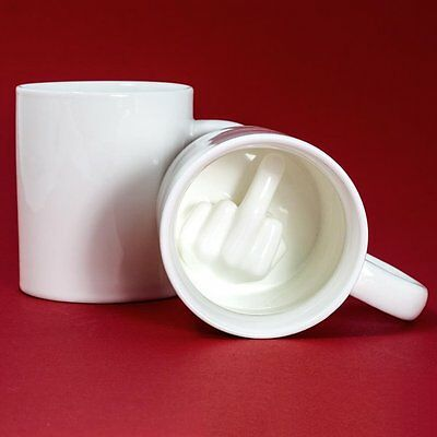 Middle Finger Novelty Mixing Coffee Milk Cup Funny 3D Ceramic Mug A^^