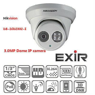 Hikvision DS-2CD2332-I 3MP HD EXIR IP66 Network turretIP Dome Camera PoE outdoor