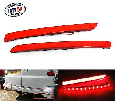 2 VW Red Rear Bumper Reflector LED Tail Stop Light Brake Transporter Multivan T5