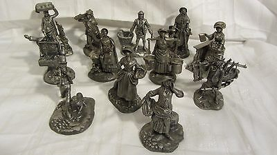 1976/77 Franklin Mint Set of 12 Pewter 'Cries of London'