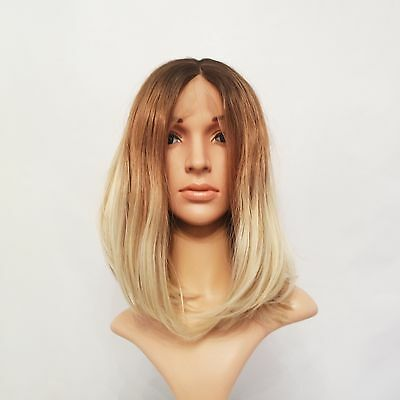 Synthetic Custom Made Lace Front Heat Resistant Wig 3 Tone Blonde Ombre 12""