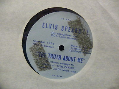 "Elvis Presley 7""  Flexi ""truth About Me "" Uk Teen Parade Issue  Ex+ Cond."
