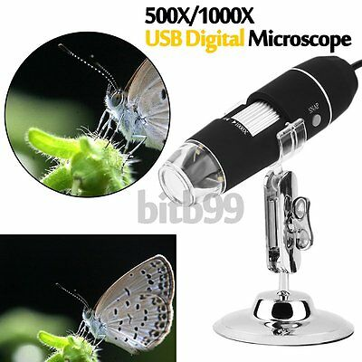 500/1000X 8 LED Light USB Digital Microscope Endoscope Zoom Magnifier Camera A^^