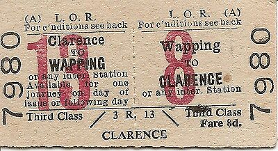 Liverpool Overhead Railway Edmondson Ticket - Wapping to Clarence