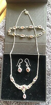Sterling Silver 925 and Amethyst Stone Necklace, Bracelet and Earring Set