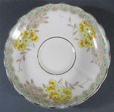 Shabby vintage Tuscan China 'Plant' England saucer yellow floral pattern