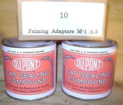 WW2 US Army sealing compound tins and priming cap box, repro