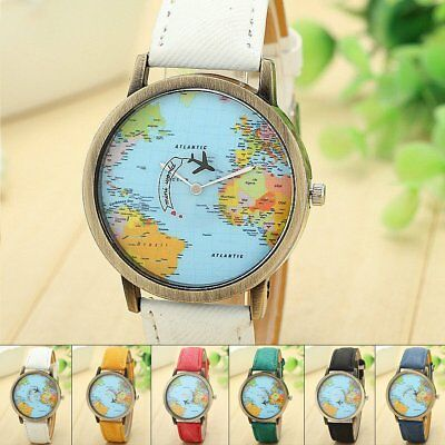 Women Men World Map Dia Leather Band Stainless Steel Quartz Analog Wrist Watch