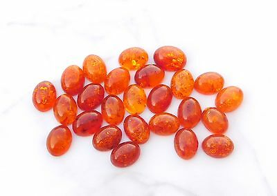 13.00 CT Natural Amber Oval Cab Lot Loose Gemstone 25 Pieces 6 X 8 MM G-712
