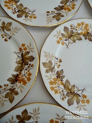 Set Of 6 Royal Vale Yellow Floral Tea Plates With Gilded Rims - Great Condition