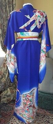 Vintage Japanese Royal Blue Furisode  Kimono, 100% Silk With Lots Of Flowers