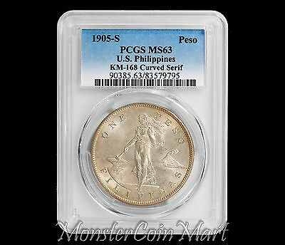 1905-S Peso PCGS MS63 (CURVED SERIF)  -  United States Philippines (USPI)