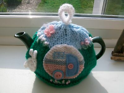 Hand Knitted Caravan Rabbit Tea Cosy Small Teapot