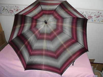 Retro Empire Ladies Umbrella Maroon/grey- Bakelite Handle Metal Spokes Paragon ?