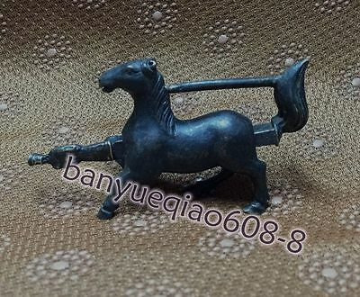 THE Rare Chinese old style Brass Carved Lifelike Horse padlock lock and key