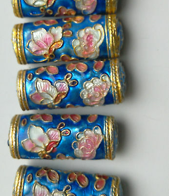 6 Cloisonne Cylinder Beads, Blue/Pink Butterfly/Peony 25 mm. Jewellery Making