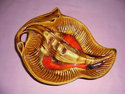 Retro Maurice Of California Pottery Divided Dish / Bowl 1701 - Flame Red
