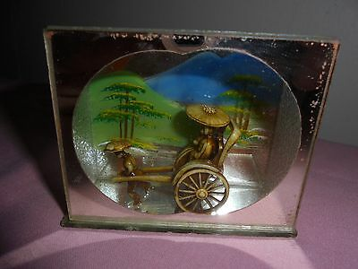 Small Glass Display Case Containing  Carved Rickshaw, Passenger + Coolie Figure