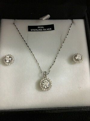 Sterling silver diamond earring and necklace set