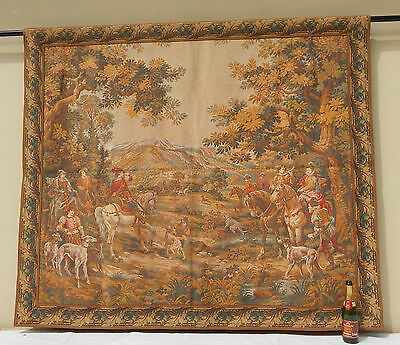 "Antique Large French The Hunt Wall Hanging/Tapestry (78"" x 66"")"