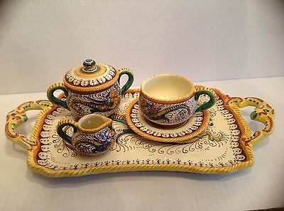Italian Pottery Ceramic Coffee Set Signed Dipinto a Mano S. Marco Perugia