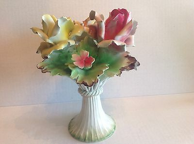 Vintage Italian Capodimonte centrepiece  bouquet of roses on a pedestal