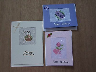 3 colourful handmade cross stitch floral birthday cards