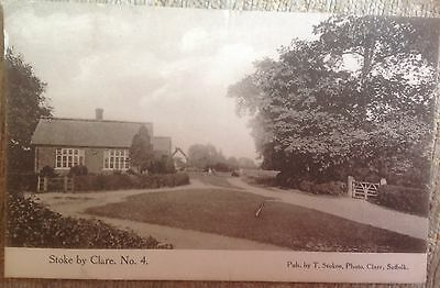 Stoke By Clare Postcard Showing Houses (1910) Published By T Stokoe Of Clare