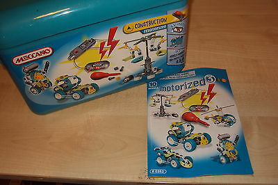 Plastic Meccano Set in Blue Case to made 10 models with motor 100% complete