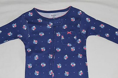 New~Carters Toddler Girl Winter Blue Cotton Footed Sleeper Pajamas Size 24 Month